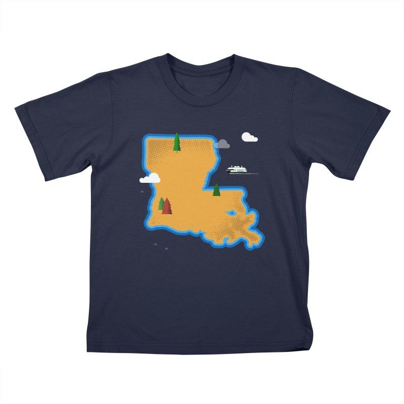 Louisiana Island Kids T-Shirt by Phillustrations's Artist Shop