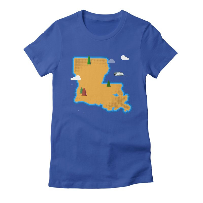 Louisiana Island Women's Fitted T-Shirt by Phillustrations's Artist Shop