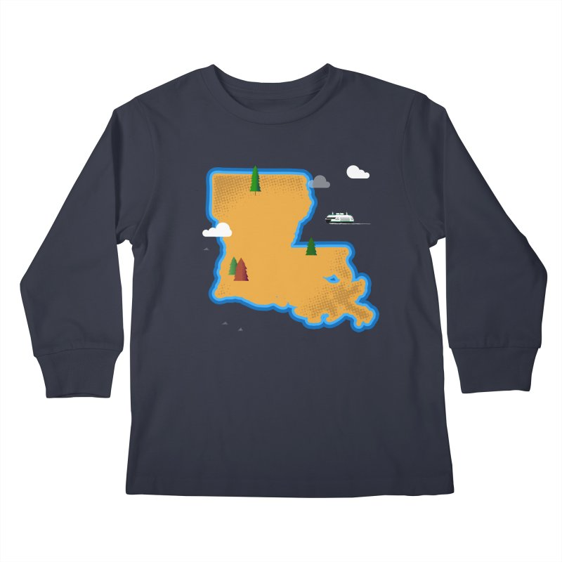 Louisiana Island Kids Longsleeve T-Shirt by Phillustrations's Artist Shop
