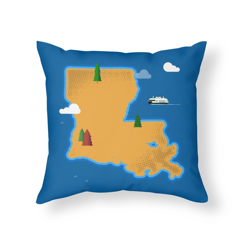Louisiana Island Home Throw Pillow by Phillustrations's Artist Shop