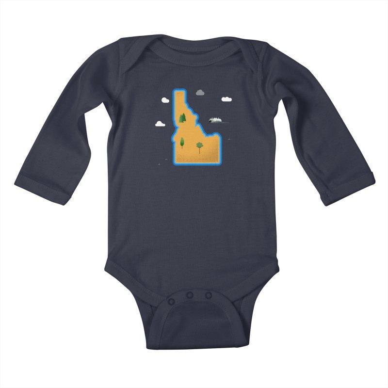 Idaho Island Kids Baby Longsleeve Bodysuit by Phillustrations's Artist Shop