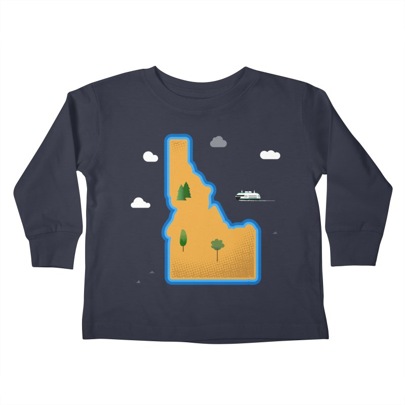 Idaho Island Kids Toddler Longsleeve T-Shirt by Illustrations by Phil