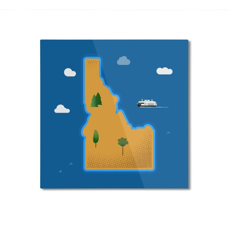 Idaho Island Home Mounted Aluminum Print by Phillustrations's Artist Shop