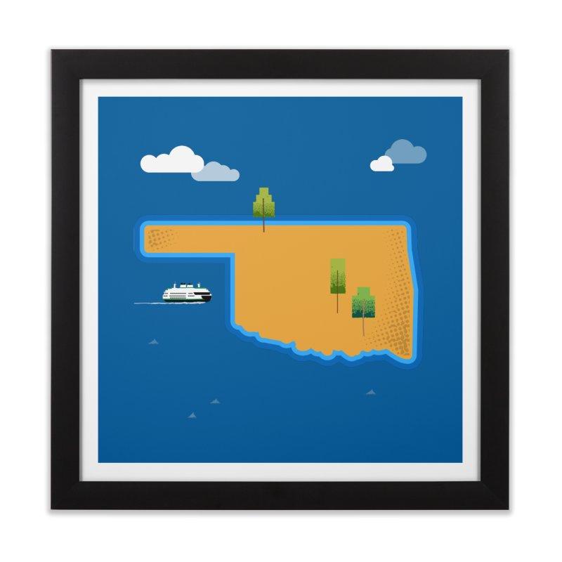 Oklahoma Island Home Framed Fine Art Print by Phillustrations's Artist Shop