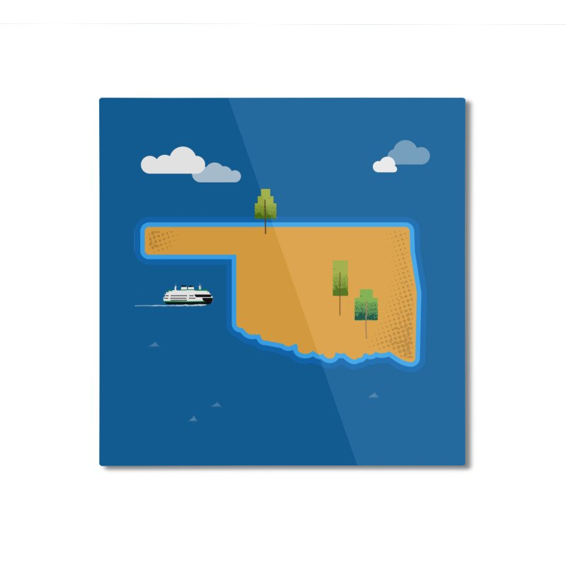 Oklahoma Island Home Mounted Aluminum Print by Phillustrations's Artist Shop