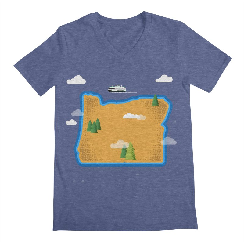 Oregon Island Men's V-Neck by Phillustrations's Artist Shop