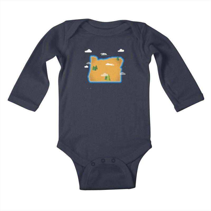 Oregon Island Kids Baby Longsleeve Bodysuit by Phillustrations's Artist Shop