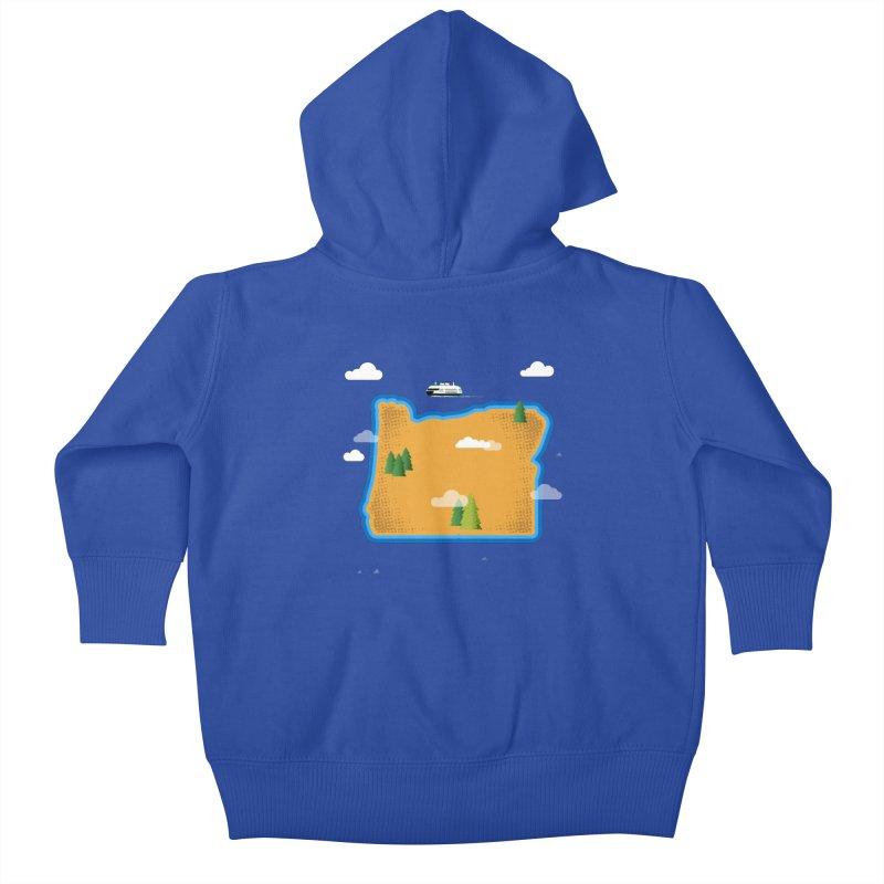 Oregon Island Kids Baby Zip-Up Hoody by Phillustrations's Artist Shop