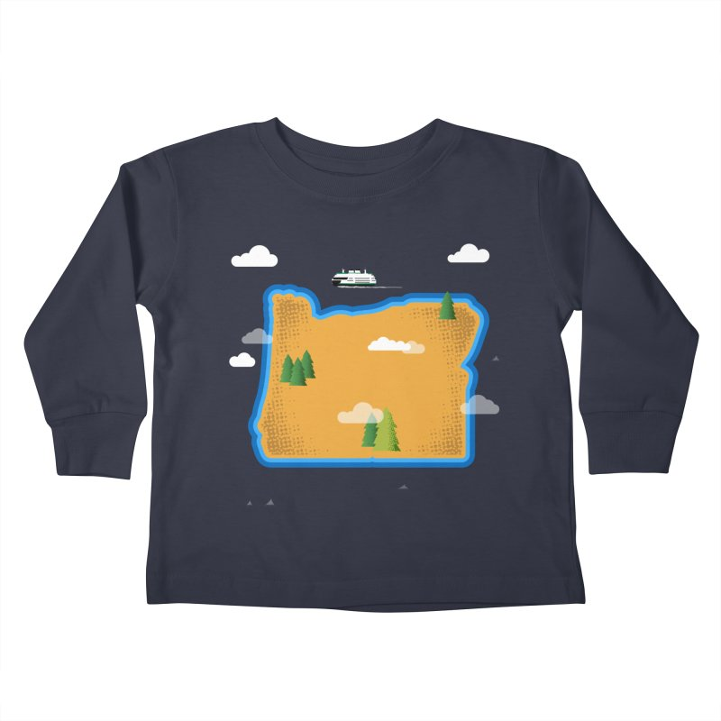 Oregon Island Kids Toddler Longsleeve T-Shirt by Illustrations by Phil