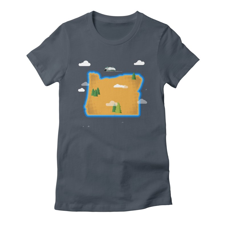 Oregon Island Women's Fitted T-Shirt by Phillustrations's Artist Shop