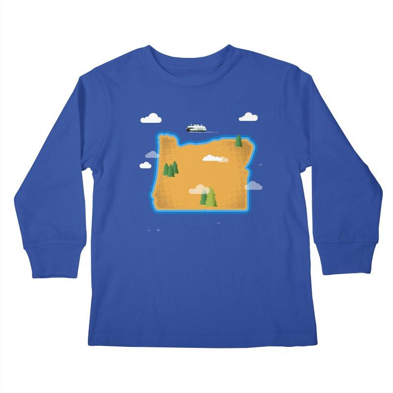 Oregon Island Kids Longsleeve T-Shirt by Phillustrations's Artist Shop