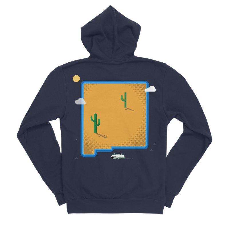 New Mexico Island Men's Sponge Fleece Zip-Up Hoody by Illustrations by Phil