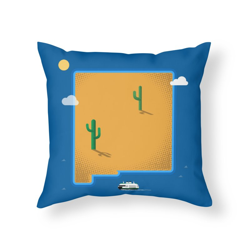 New Mexico Island Home Throw Pillow by Phillustrations's Artist Shop