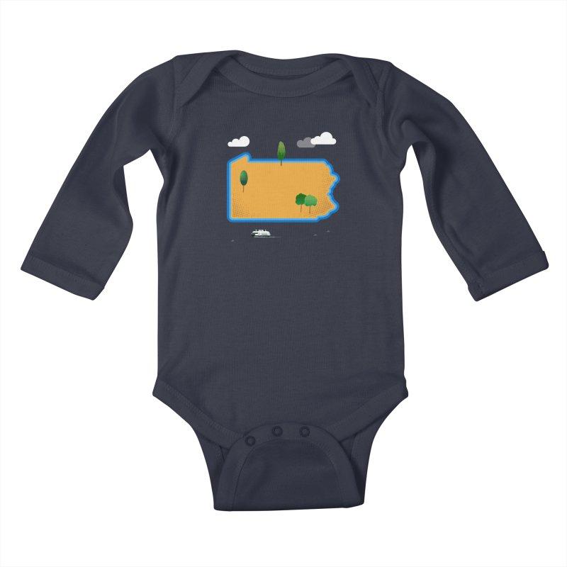 Pennsylvania Island Kids Baby Longsleeve Bodysuit by Phillustrations's Artist Shop