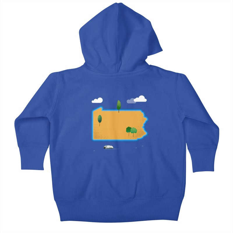 Pennsylvania Island Kids Baby Zip-Up Hoody by Illustrations by Phil
