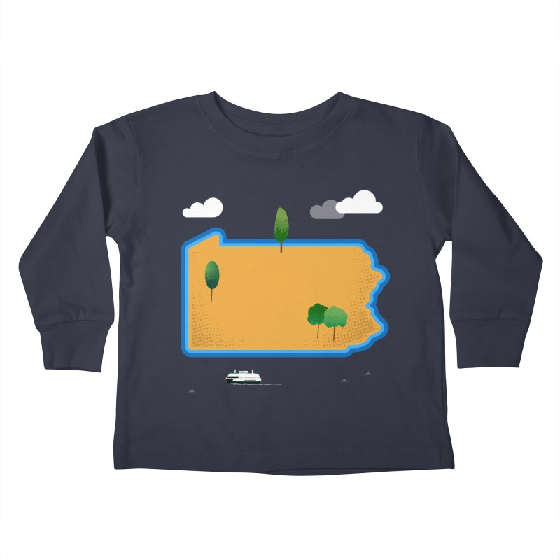 Pennsylvania Island Kids Toddler Longsleeve T-Shirt by Illustrations by Phil