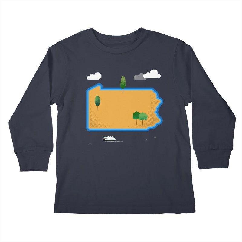 Pennsylvania Island Kids Longsleeve T-Shirt by Illustrations by Phil