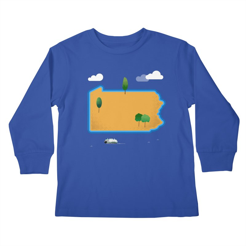 Pennsylvania Island Kids Longsleeve T-Shirt by Illustrations by Phil