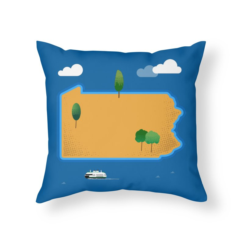 Pennsylvania Island Home Throw Pillow by Phillustrations's Artist Shop