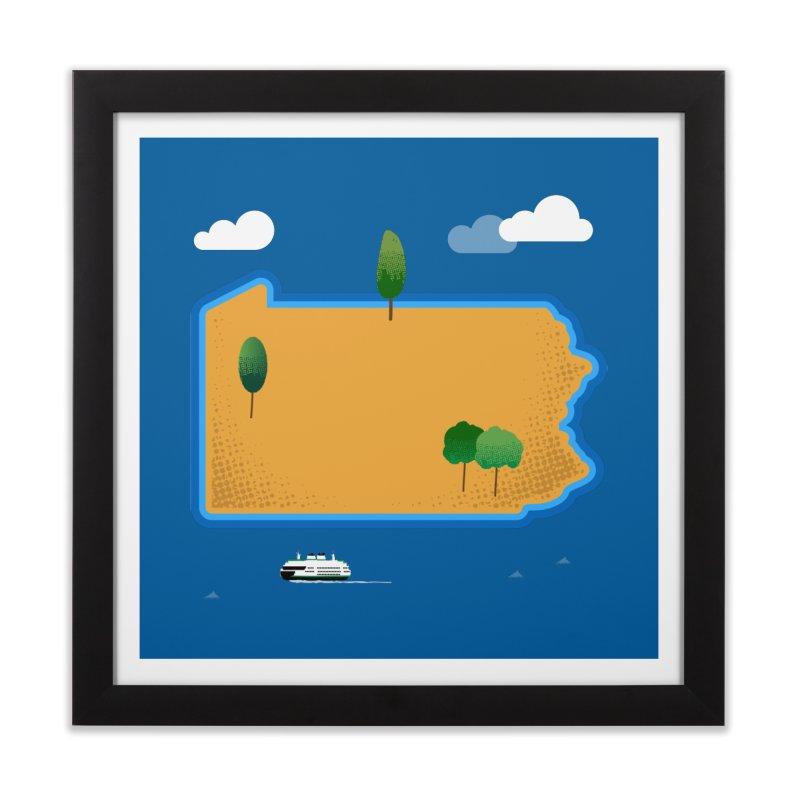 Pennsylvania Island Home Framed Fine Art Print by Phillustrations's Artist Shop
