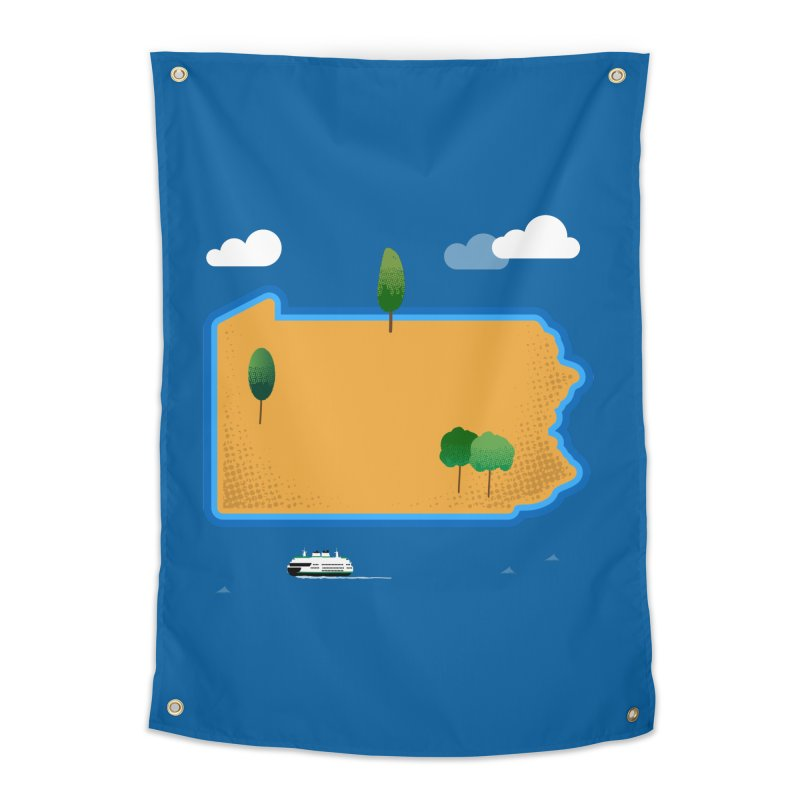 Pennsylvania Island Home Tapestry by Phillustrations's Artist Shop