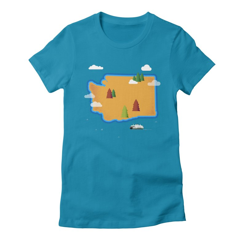 Washington Island Women's Fitted T-Shirt by Phillustrations's Artist Shop