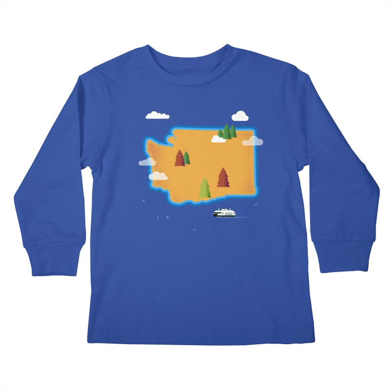 Washington Island Kids Longsleeve T-Shirt by Illustrations by Phil