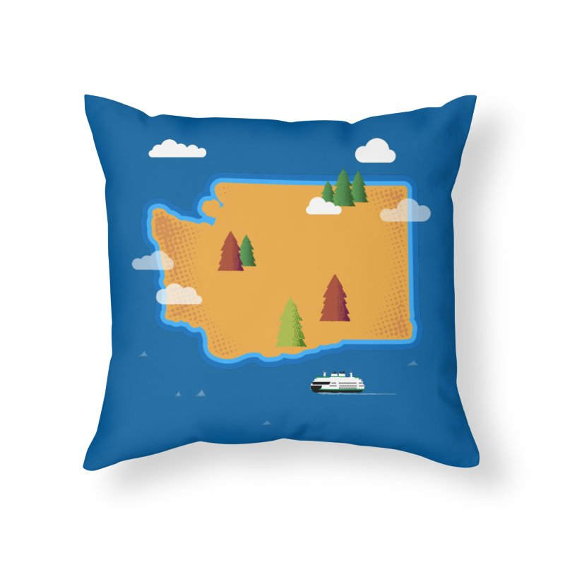 Washington Island Home Throw Pillow by Phillustrations's Artist Shop
