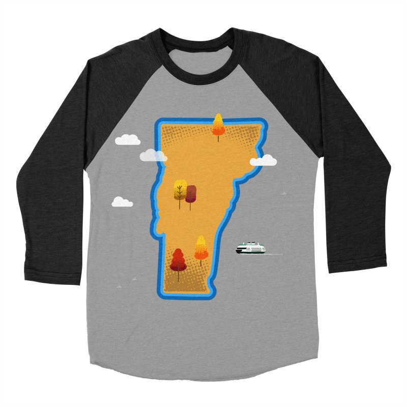 Vermont Island Men's Baseball Triblend Longsleeve T-Shirt by Illustrations by Phil