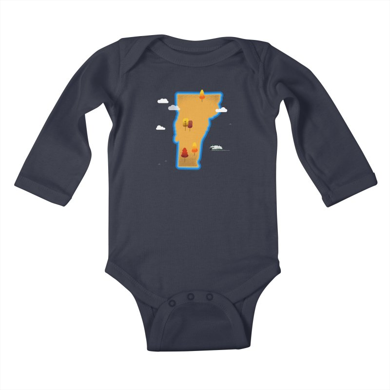 Vermont Island Kids Baby Longsleeve Bodysuit by Illustrations by Phil