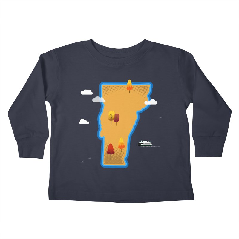 Vermont Island Kids Toddler Longsleeve T-Shirt by Illustrations by Phil