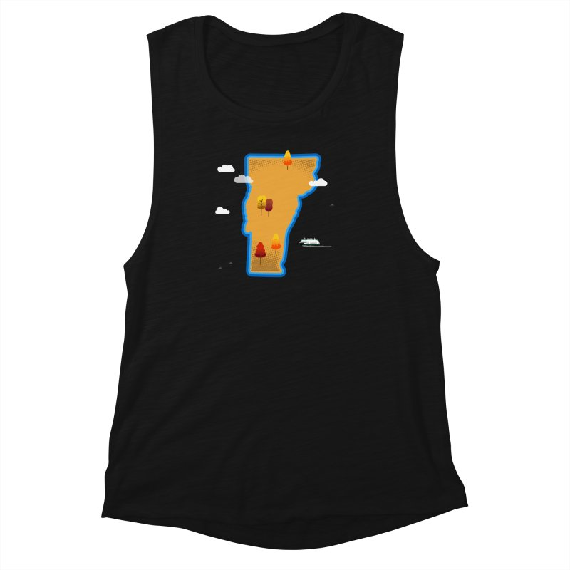 Vermont Island Women's Muscle Tank by Illustrations by Phil