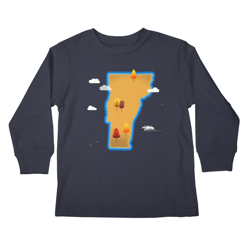 Vermont Island Kids Longsleeve T-Shirt by Illustrations by Phil