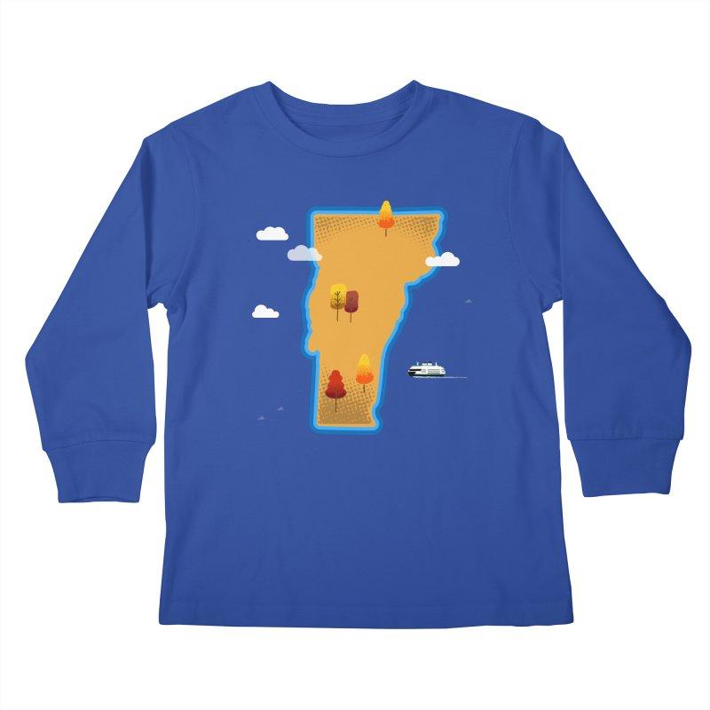 Vermont Island Kids Longsleeve T-Shirt by Phillustrations's Artist Shop