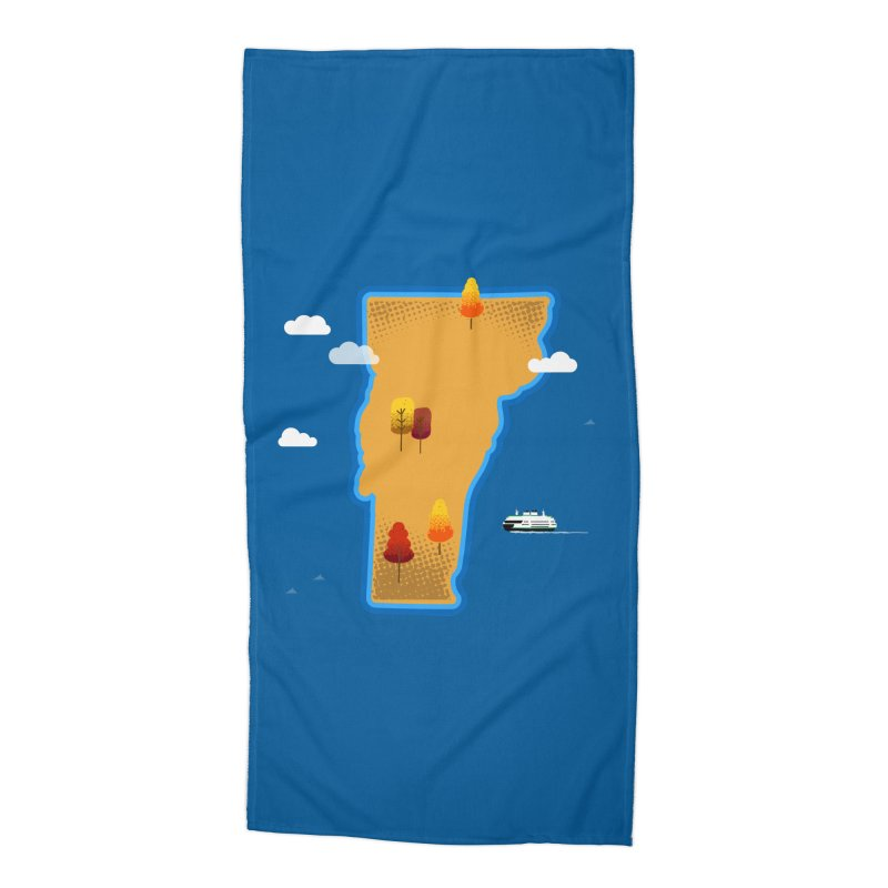 Vermont Island Accessories Beach Towel by Phillustrations's Artist Shop