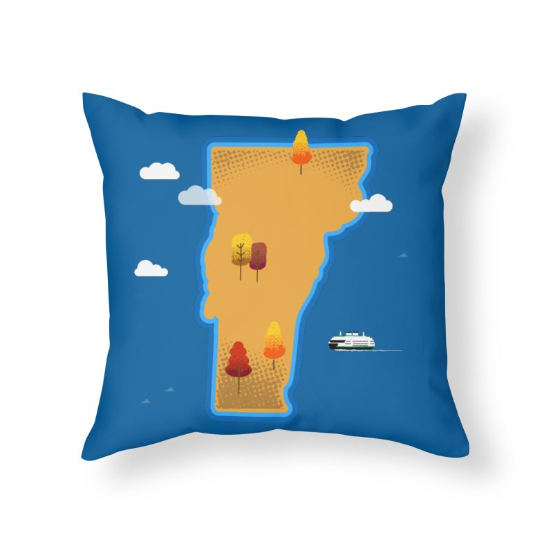 Vermont Island Home Throw Pillow by Phillustrations's Artist Shop