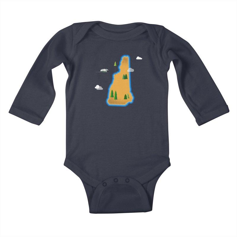 New Hampshire Island Kids Baby Longsleeve Bodysuit by Phillustrations's Artist Shop