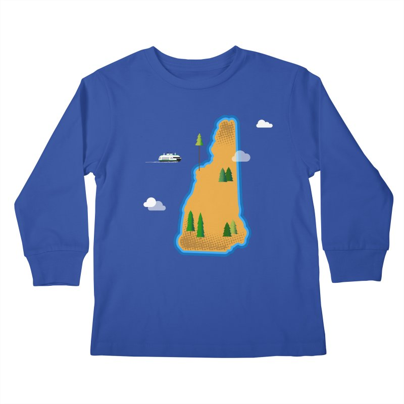 New Hampshire Island Kids Longsleeve T-Shirt by Illustrations by Phil