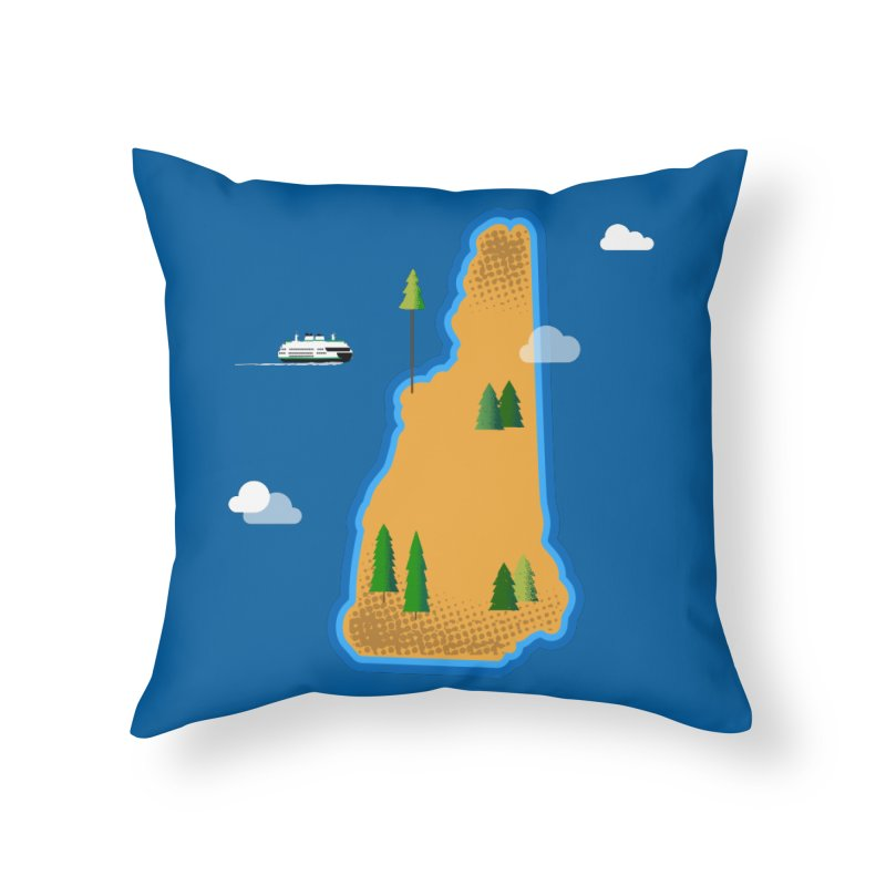 New Hampshire Island Home Throw Pillow by Phillustrations's Artist Shop