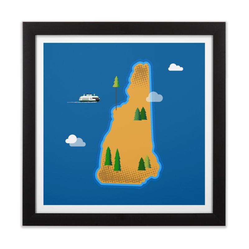 New Hampshire Island Home Framed Fine Art Print by Phillustrations's Artist Shop