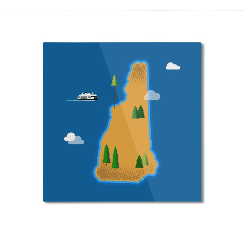 New Hampshire Island Home Mounted Aluminum Print by Phillustrations's Artist Shop