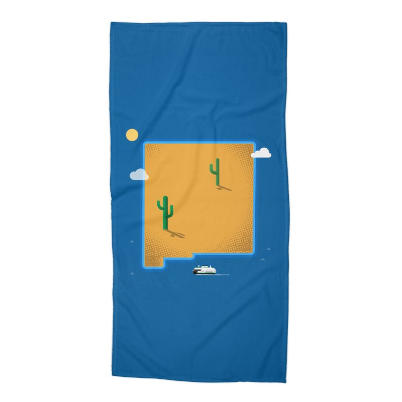 New Mexico Island Accessories Beach Towel by Phillustrations's Artist Shop