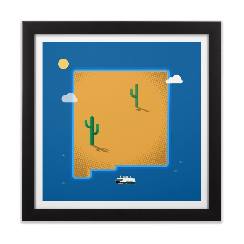 New Mexico Island Home Framed Fine Art Print by Phillustrations's Artist Shop