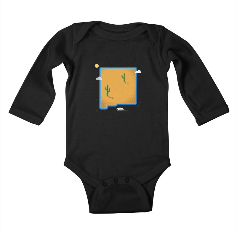 New Mexico Island Kids Baby Longsleeve Bodysuit by Illustrations by Phil