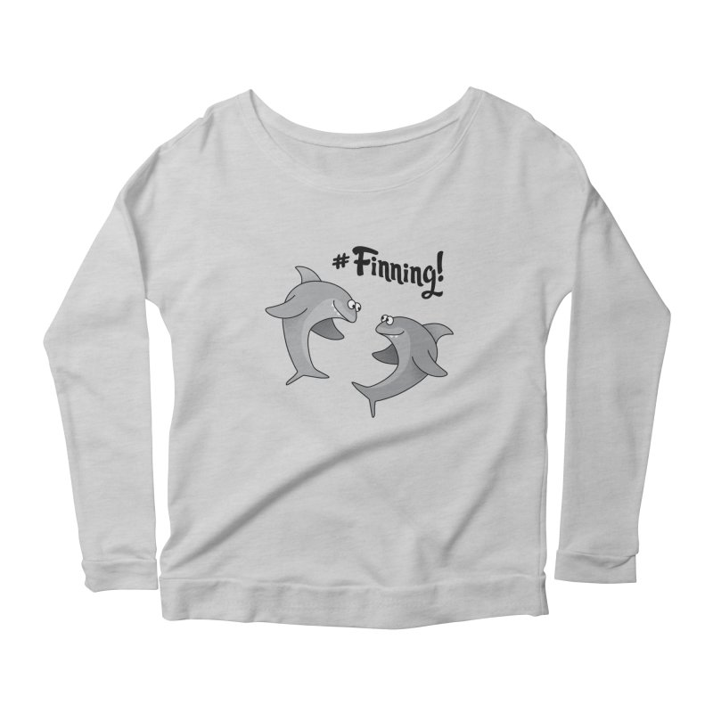 #Finning! Women's Scoop Neck Longsleeve T-Shirt by Illustrations by Phil