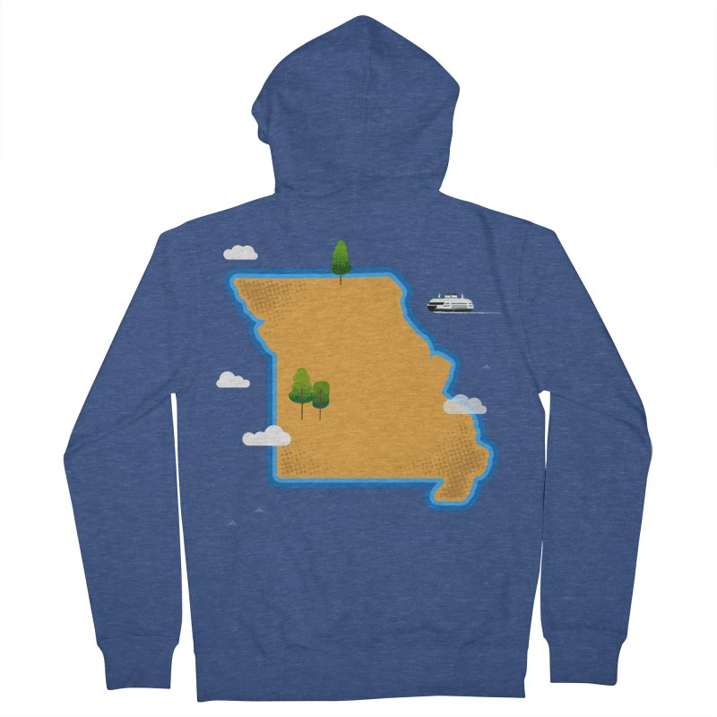 Missouri Island Men's French Terry Zip-Up Hoody by Illustrations by Phil