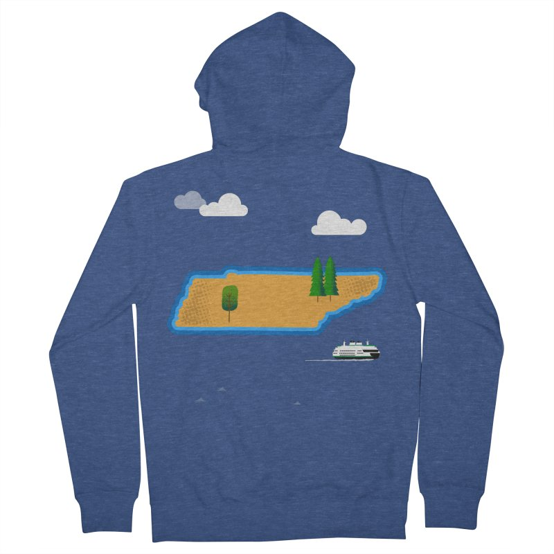 Tennessee Island Men's French Terry Zip-Up Hoody by Illustrations by Phil