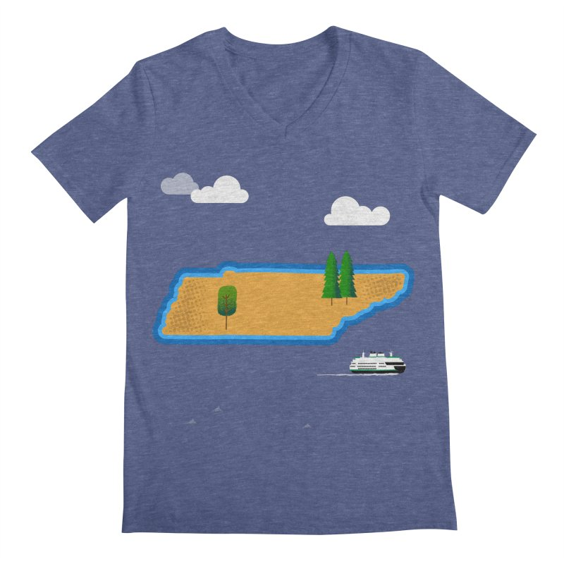 Tennessee Island Men's Regular V-Neck by Illustrations by Phil