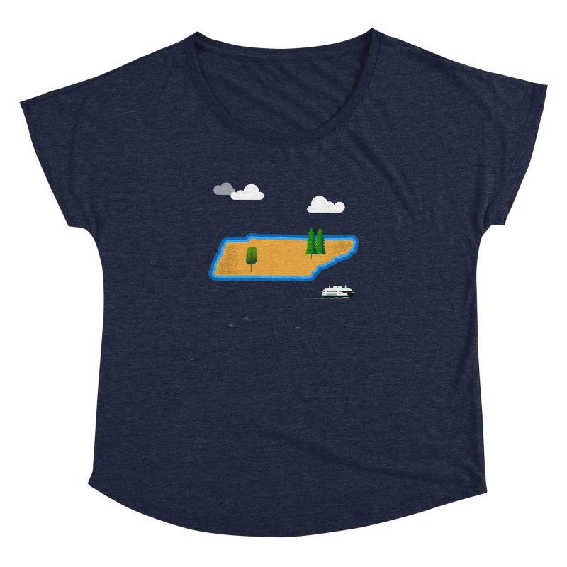 Tennessee Island Women's Dolman Scoop Neck by Illustrations by Phil