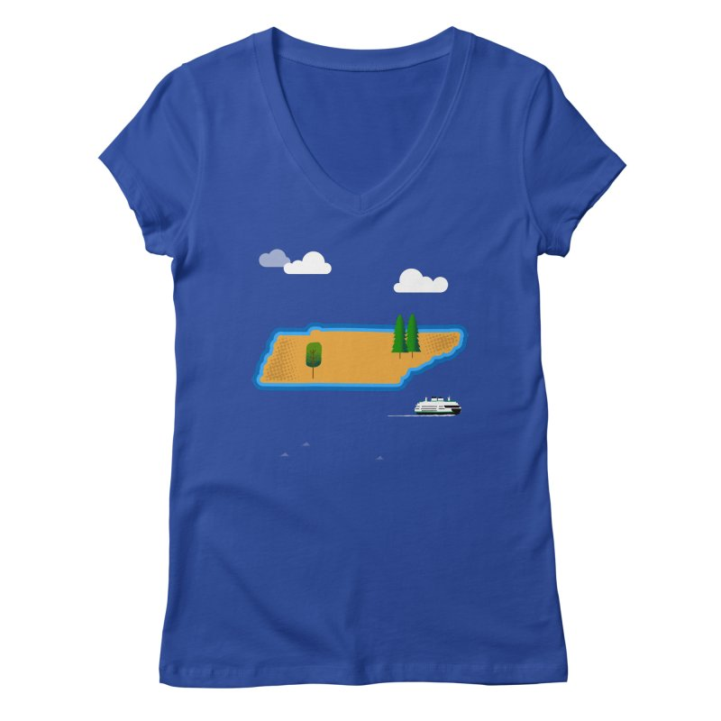 Tennessee Island Women's Regular V-Neck by Illustrations by Phil